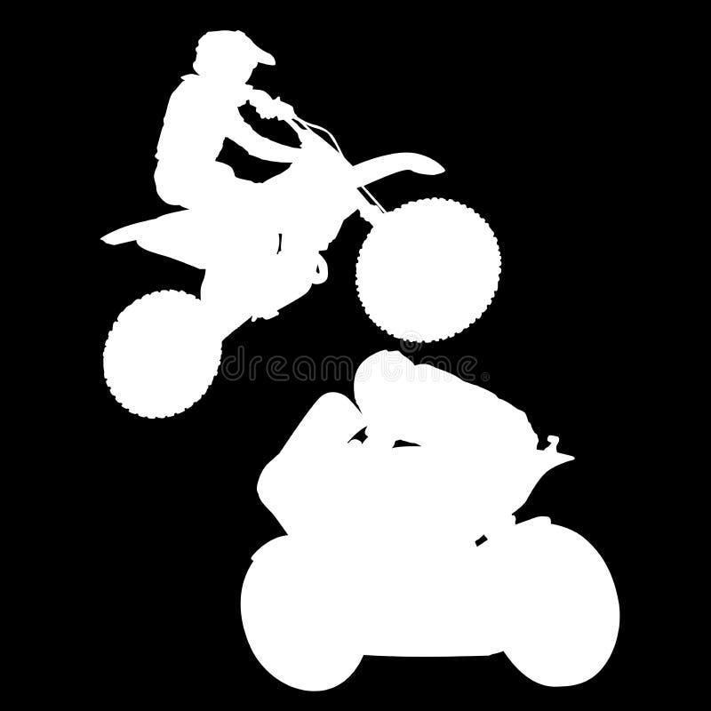 Siluetta di logo del quadro televisivo di un motociclista su un fondo nero royalty illustrazione gratis
