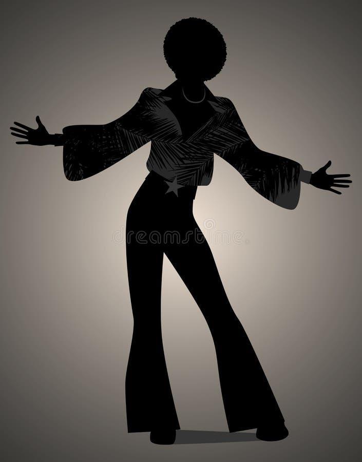 Siluetta di musica funky o della discoteca di anima, di dancing dell'uomo illustrazione vettoriale
