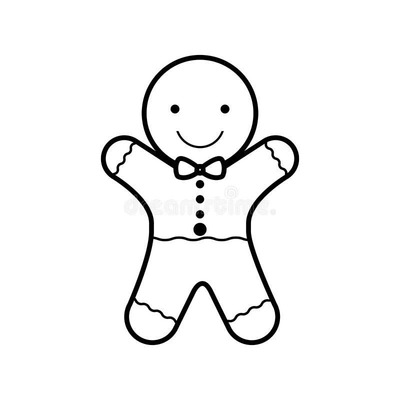Siluetta di Natale del biscotto con l'arco in collo royalty illustrazione gratis