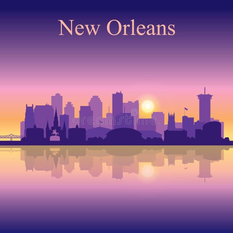 Siluetta di New Orleans sul fondo di tramonto illustrazione vettoriale