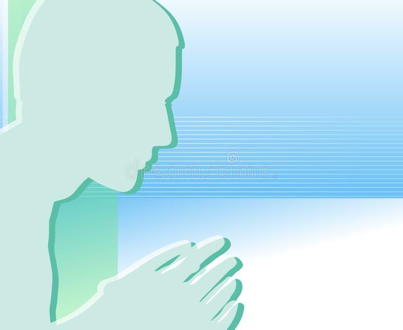 Siluetta di pensiero o di preghiera illustrazione vettoriale