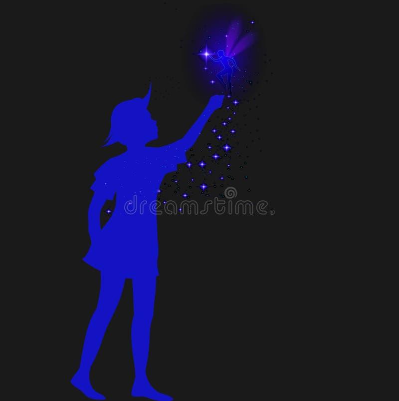 Siluetta di Peter Pan con sparckle leggiadramente e blu, illustrazione vettoriale