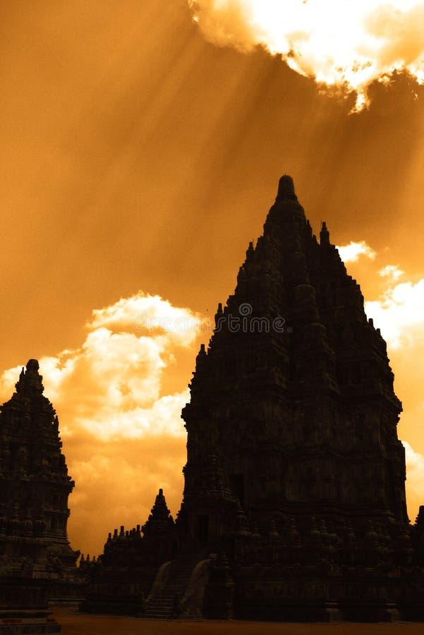 Siluetta di Prambanan fotografie stock