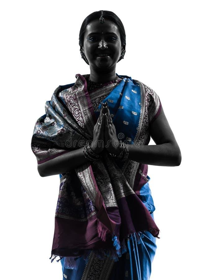 Siluetta Di Preghiera Di Saluto Della Donna Indiana Fotografia Stock Libera da Diritti