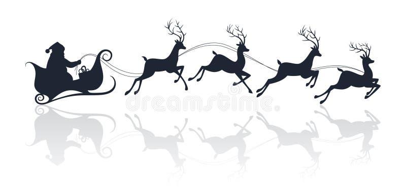 Siluetta di Santa Claus che guida una slitta con i cervi illustrazione di stock