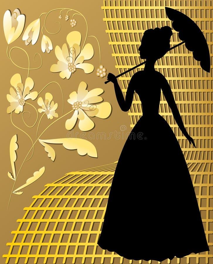 Siluetta di signora con i fiori d'annata dorati sulla griglia dorata illustrazione vettoriale