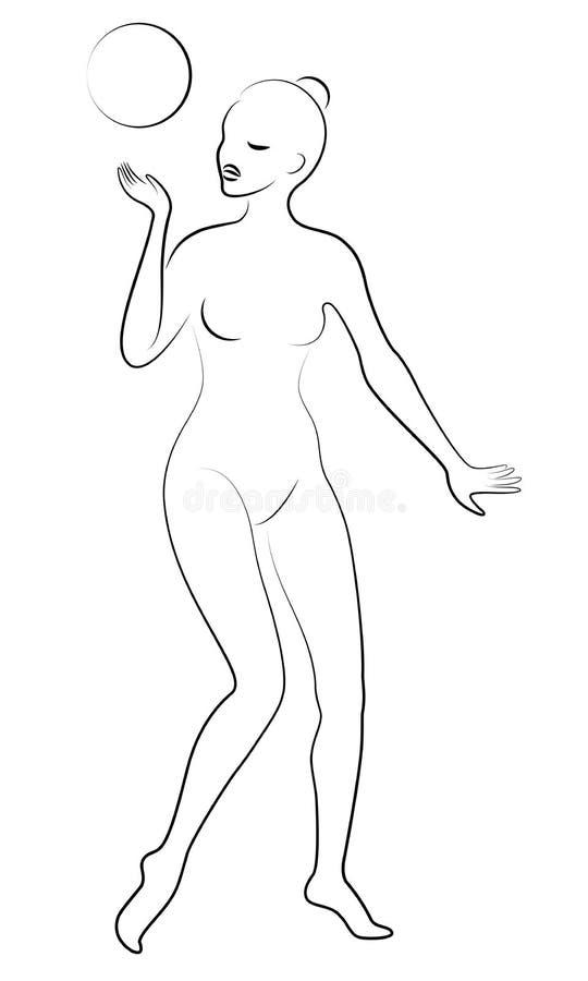 Siluetta di signora snella La ragazza gioca la palla Immagine grafica della ginnasta femminile Illustrazione di vettore illustrazione di stock