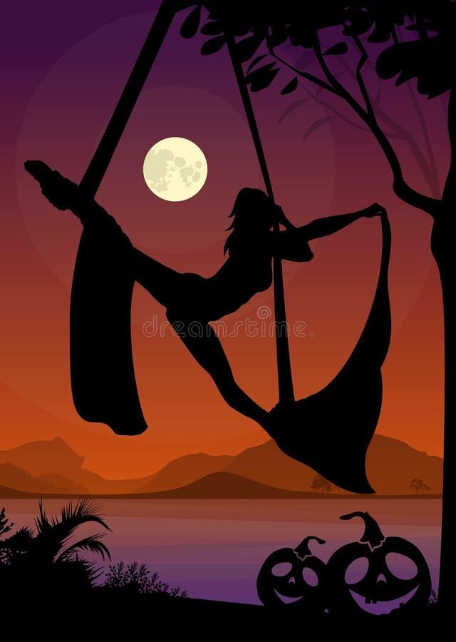 Siluetta di stile di Halloween della ginnasta dell'aria Siluetta nera dell'esecutore aereo femminile delle sete davanti al fiume  illustrazione vettoriale