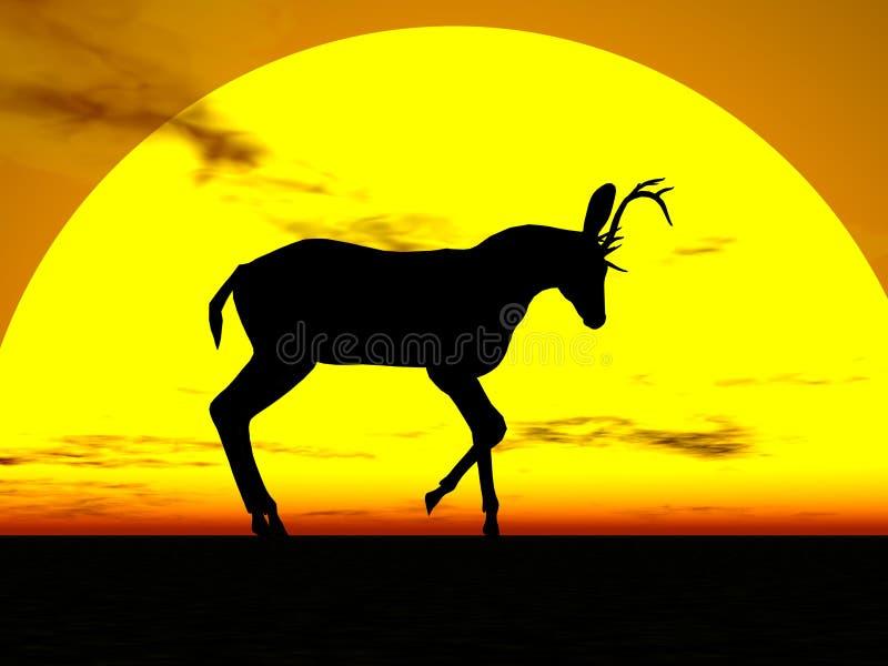 Siluetta di Sun dei cervi illustrazione di stock