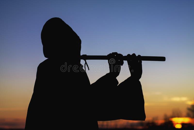 Siluetta di tramonto del giocatore di flauto fotografia stock