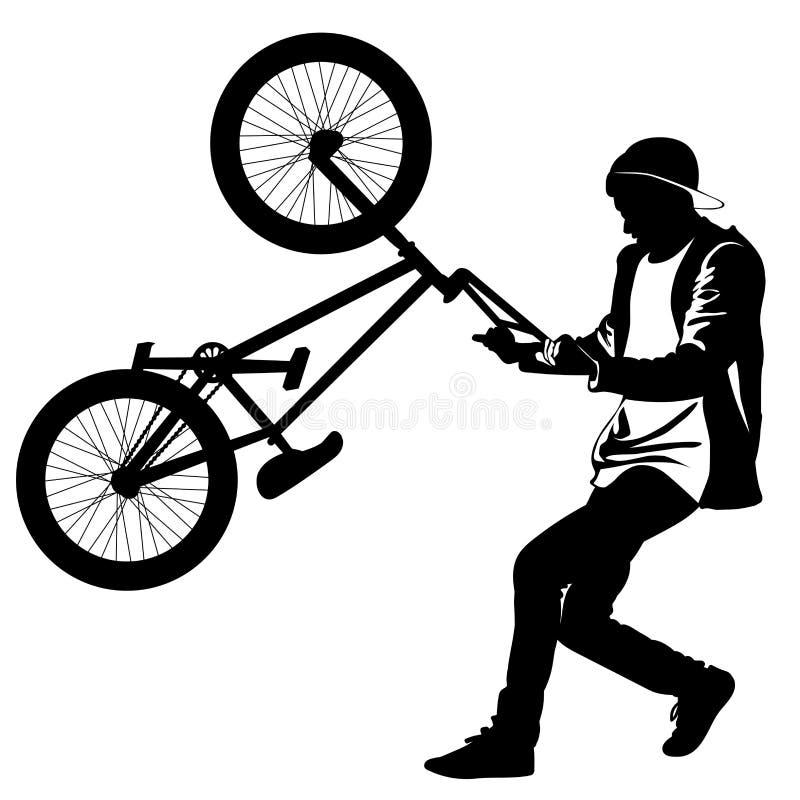 Siluetta di un adolescente con una bicicletta che sta sulla ruota posteriore royalty illustrazione gratis