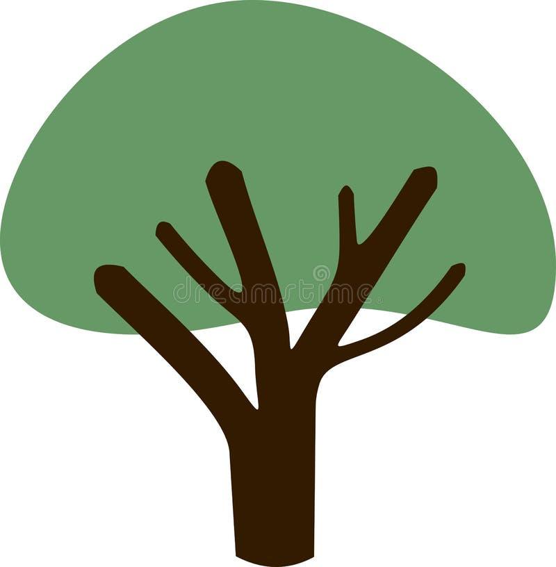 Siluetta di un albero con una corona verde illustrazione di stock