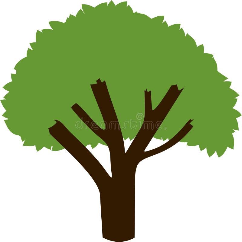 Siluetta di un albero con una corona verde royalty illustrazione gratis