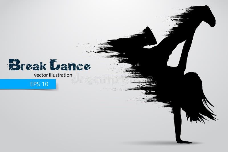 Siluetta di un ballerino della rottura dalle particelle Illustrazione di vettore