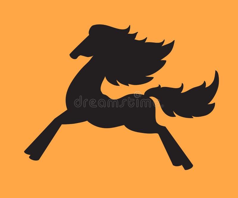 Siluetta di un cavallo corrente illustrazione vettoriale