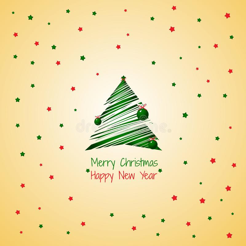 Siluetta di un colore verde dell'albero di Natale del colpo isolata sul fondo dorato di colore Campione del manifesto, partito royalty illustrazione gratis