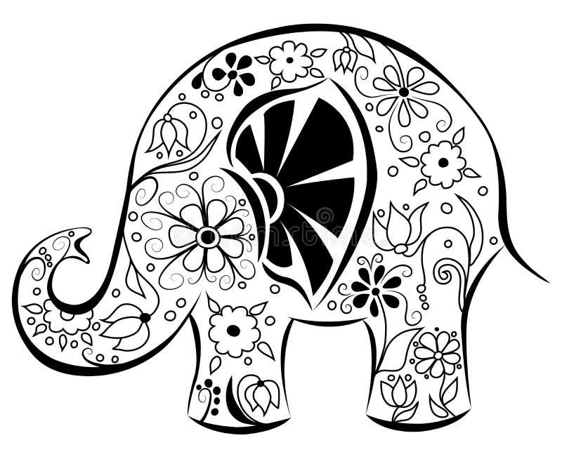 Siluetta di un elefante dipinto dai fiori. illustrazione di stock