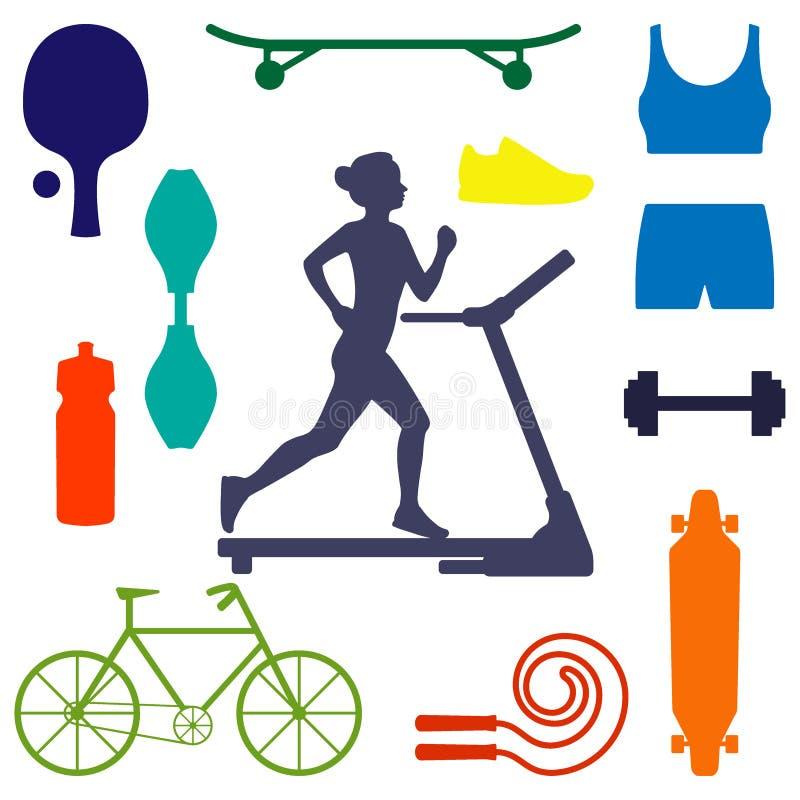Siluetta di un funzionamento della donna sulla pedana mobile, circondata dalle icone di articolo sportivo per gli sport different royalty illustrazione gratis