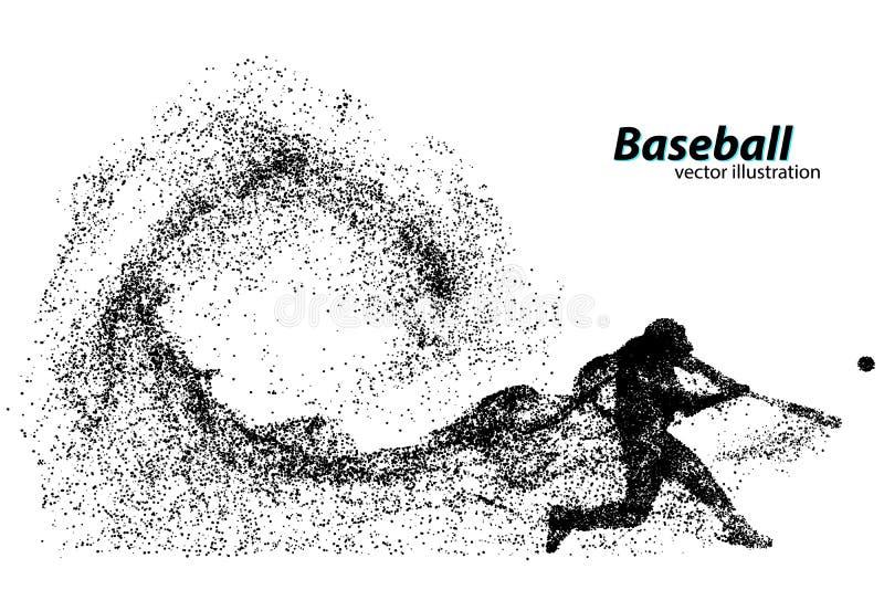 siluetta di un giocatore di baseball dalla particella illustrazione di stock