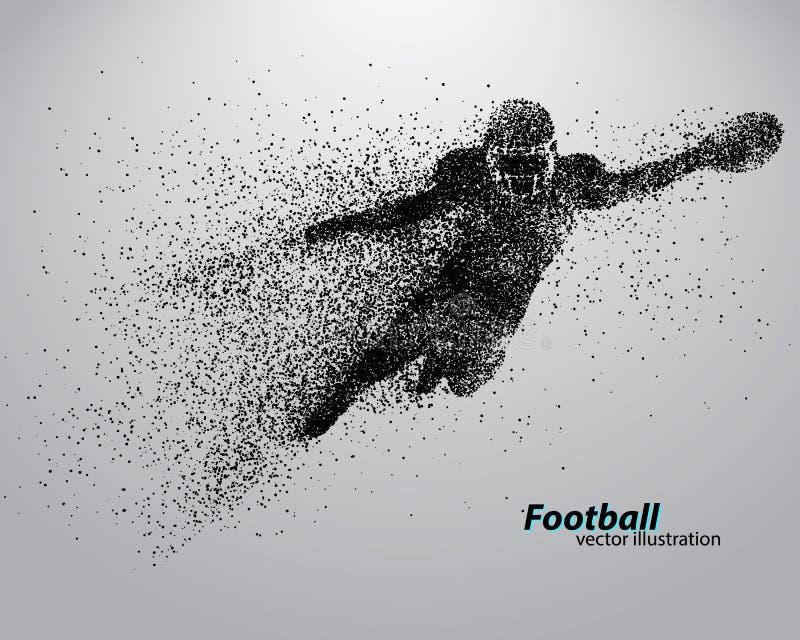Siluetta di un giocatore di football americano dalla particella rugby Calciatore americano illustrazione di stock
