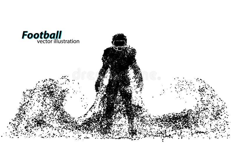 Siluetta di un giocatore di football americano dalla particella rugby Calciatore americano royalty illustrazione gratis