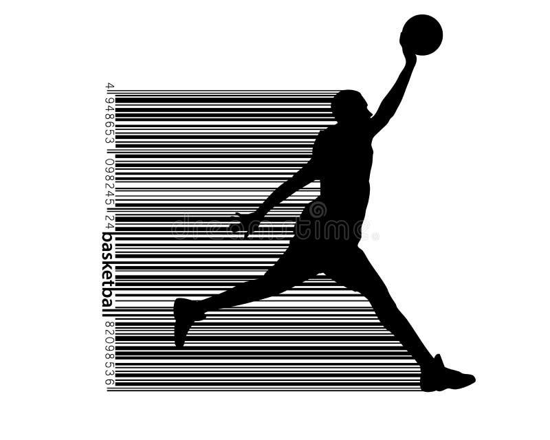 Siluetta di un giocatore di pallacanestro e di un codice a barre immagine stock