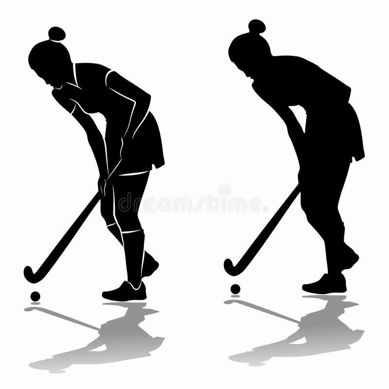 Siluetta di un giocatore di hockey su prato, tiraggio di vettore illustrazione vettoriale