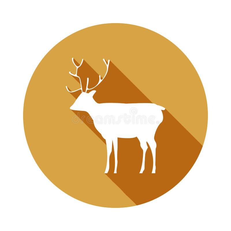 siluetta di un'icona dei cervi in ombra piana e lunga illustrazione vettoriale