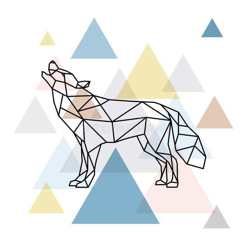 Siluetta di un lupo geometrico Vista laterale illustrazione di stock