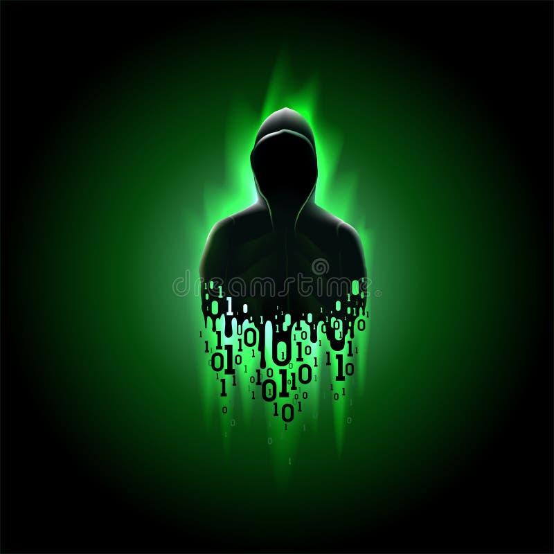 Siluetta di un pirata informatico con il codice binario su un fondo verde, incisione di un sistema informatico, furto dei dati illustrazione vettoriale