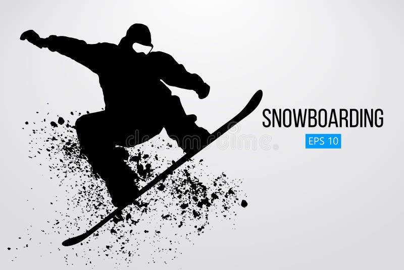 Siluetta di un salto dello snowboarder isolata Illustrazione di vettore