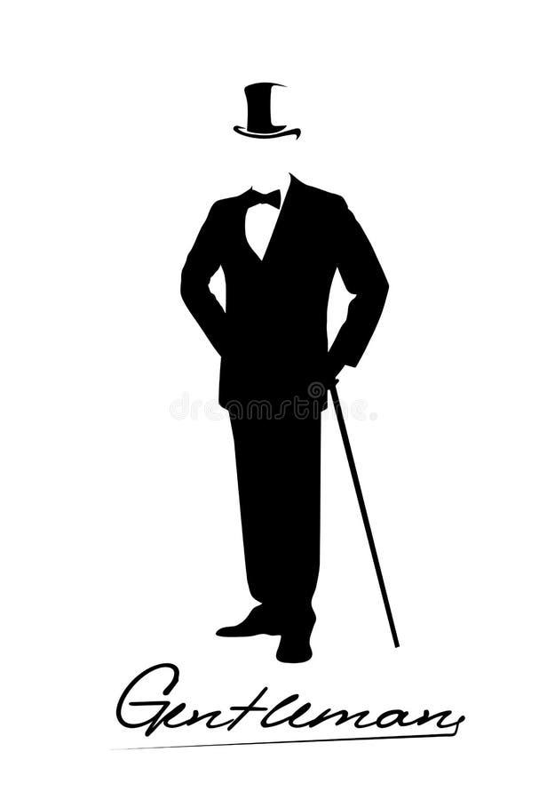 Siluetta di un signore in uno smoking royalty illustrazione gratis