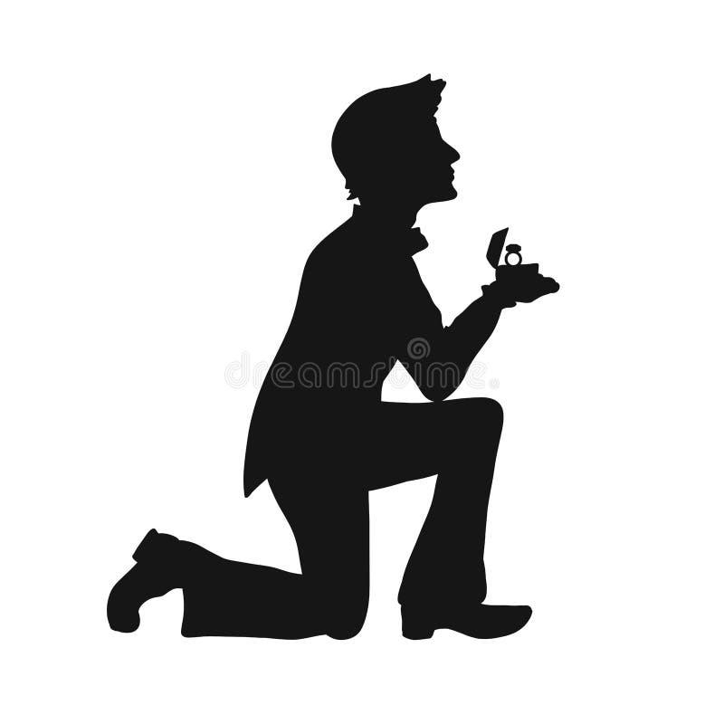 Siluetta di un uomo amoroso sulle sue ginocchia con una fede nuziale illustrazione di stock