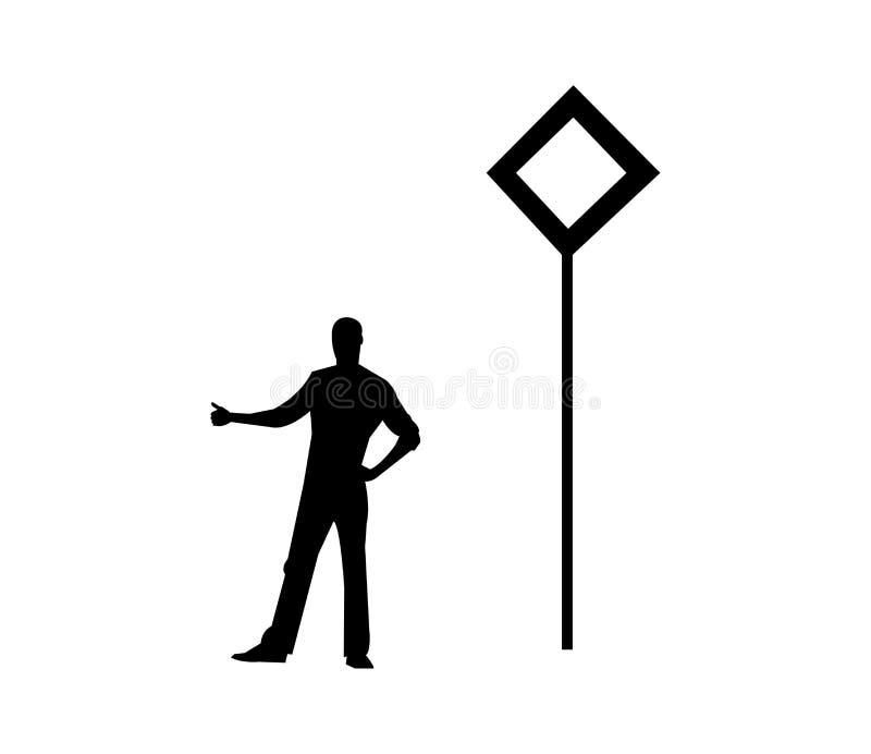 siluetta di un uomo che fa auto-stop royalty illustrazione gratis