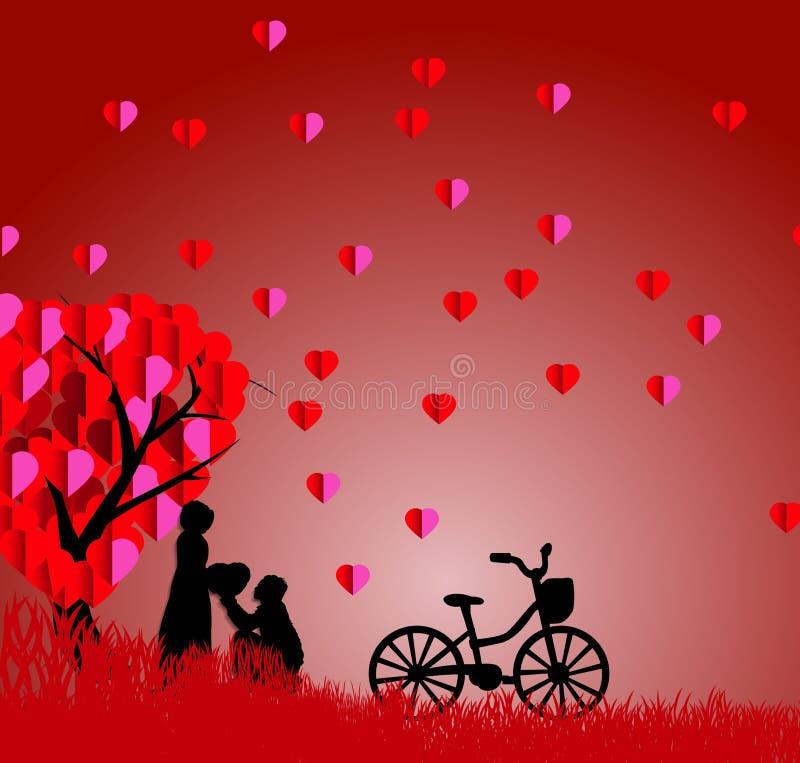 Siluetta di un uomo che presenta un cuore sul suo ginocchio ad una bella donna nell'ambito di una stagione dell'albero di amore i immagini stock