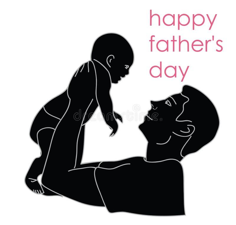 Siluetta di un uomo che tiene un bambino l'iscrizione del suo padre un il giorno felice royalty illustrazione gratis