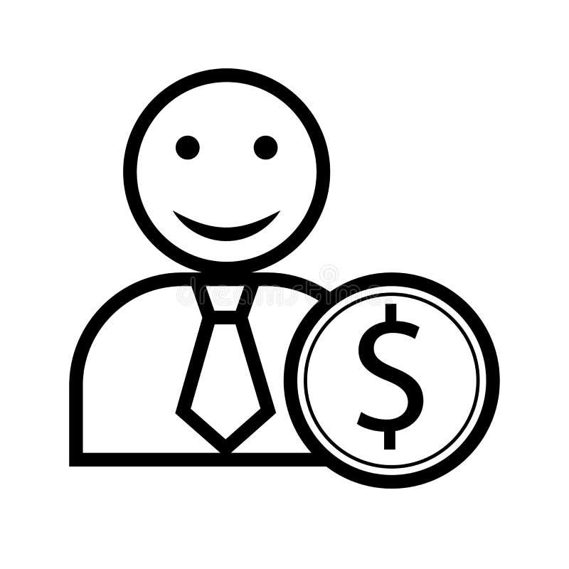Siluetta di un uomo con un sorriso e di una moneta con un simbolo del dollaro illustrazione di stock