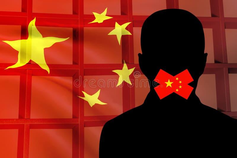 Siluetta di un uomo sui precedenti delle barre cinesi della prigione e della bandiera Concetto: Restrizione di libertà di parola, illustrazione vettoriale