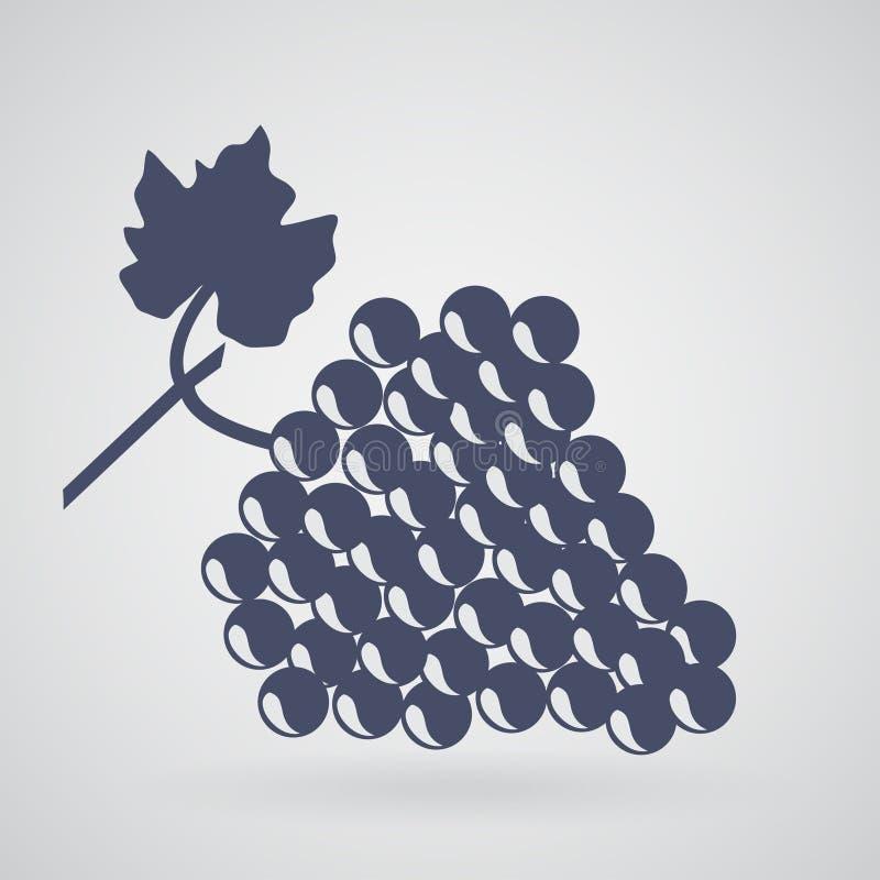 Siluetta di un'uva con un ramoscello e una foglia su un backgrou leggero illustrazione vettoriale