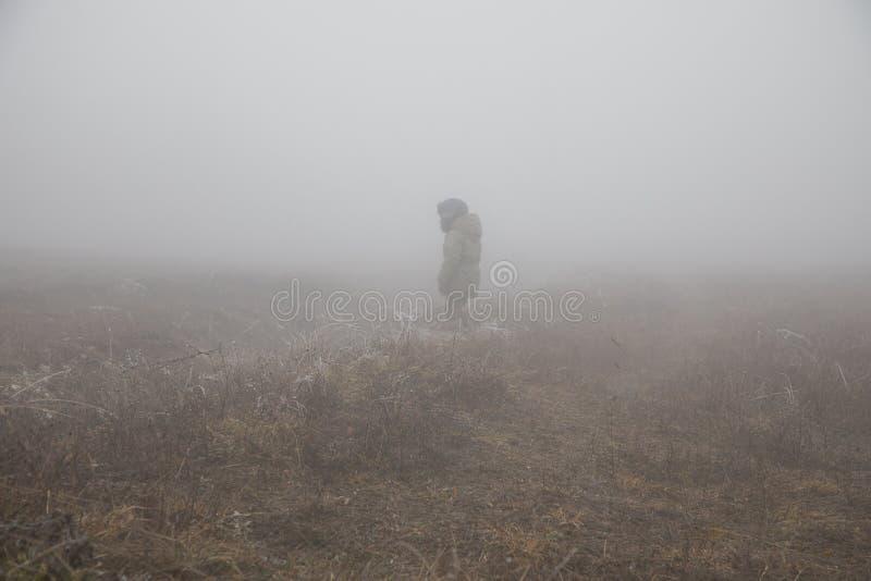 Siluetta di una condizione del bambino nel campo nebbioso coperto in foschia fotografia stock