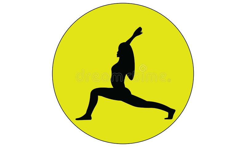 Siluetta di una condizione della donna nella posa di yoga dell'equilibrio del guerriero illustrazione di stock