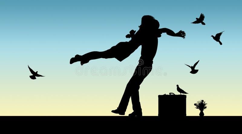Siluetta di una coppia che salta nelle armi di a vicenda illustrazione di stock