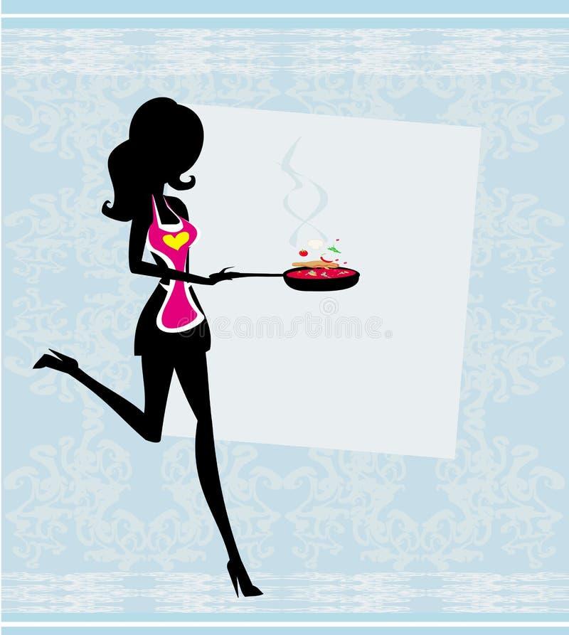 Donna che indossa un grembiule e che tiene una padella - v illustrazione di stock