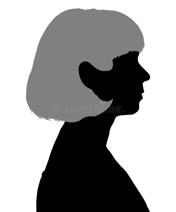 Siluetta di una donna nel profilo illustrazione di stock