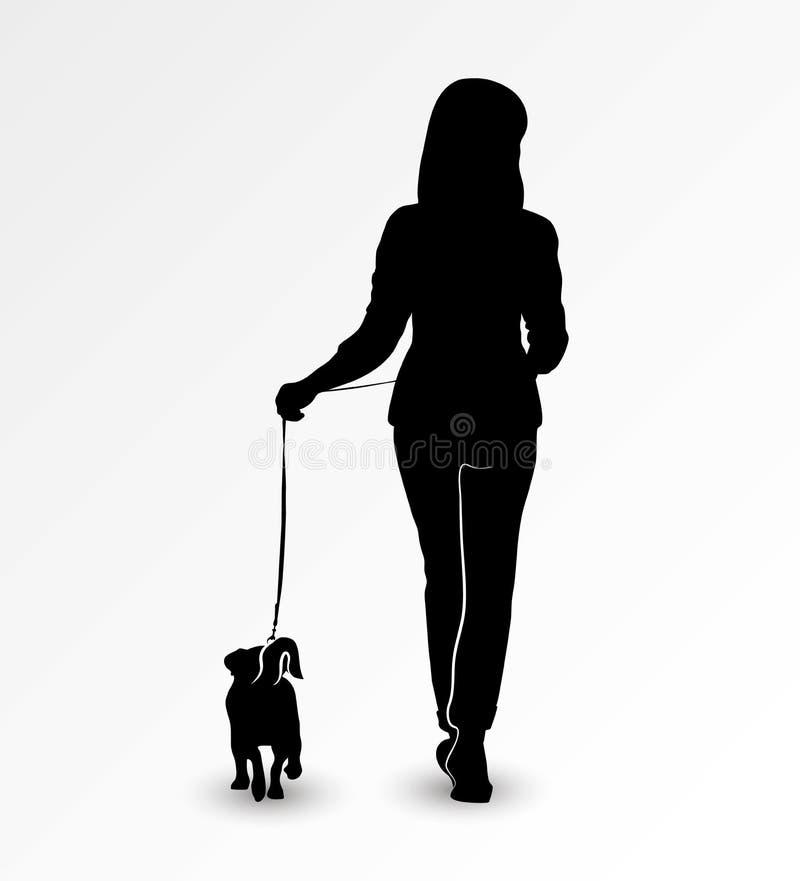 Siluetta di una giovane donna che cammina con un cane Jack Russell Terrier su un guinzaglio Illustrazione di vettore royalty illustrazione gratis