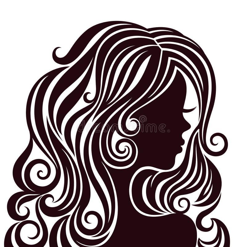 Siluetta di una giovane signora con capelli lussuosi illustrazione di stock