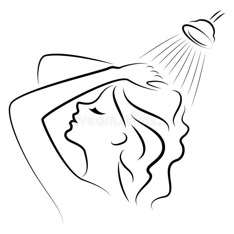 Siluetta di una giovane signora sveglia I lavaggi della ragazza nella doccia Una donna lava i suoi capelli con sciampo Illustrazi fotografia stock libera da diritti