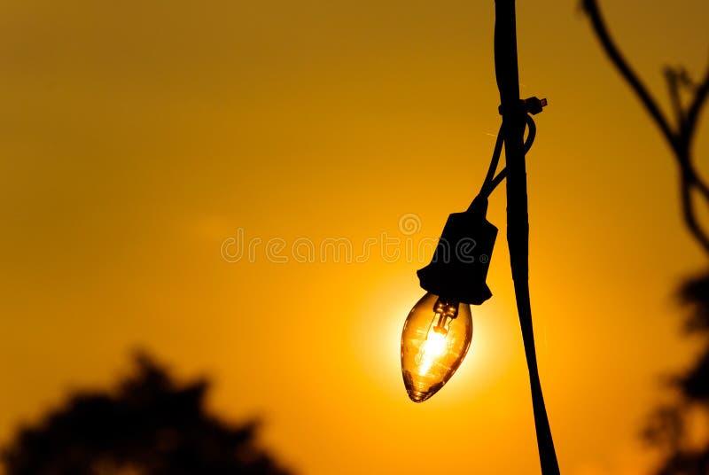Download Siluetta Di Una Lampadina Al Tramonto Immagine Stock - Immagine di vetro, lampada: 55357699
