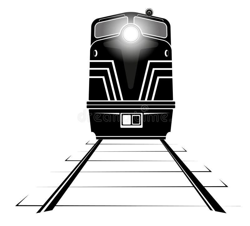 Siluetta di una locomotiva diesel che si muove lungo le rotaie royalty illustrazione gratis