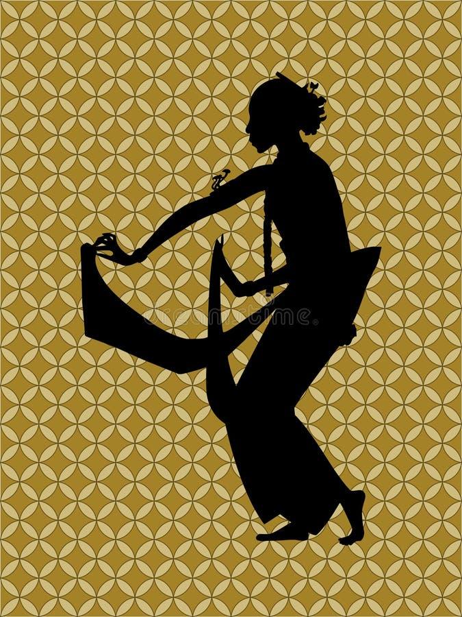 Siluetta di una priorità bassa del batik e del danzatore illustrazione vettoriale